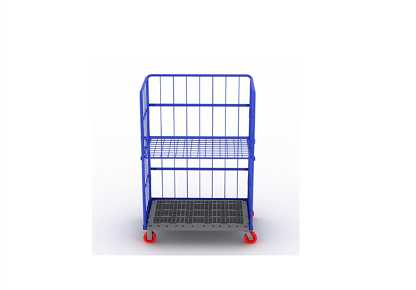 Tool Cart Metal Steel Wire Mesh Cargo Storage Roll Container