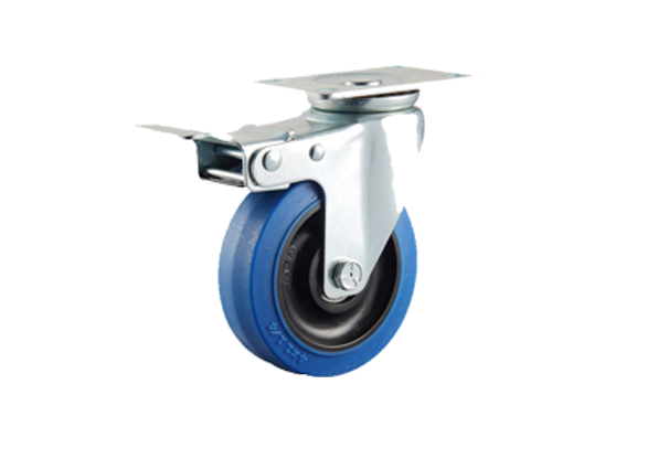 Japan 150 mm polyurethane on steel plate wheels fixed caster with brake