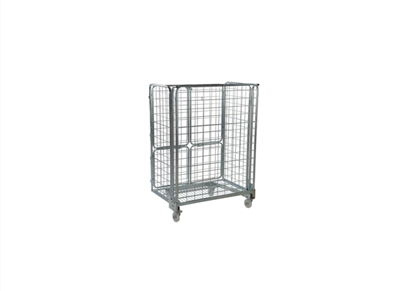 Collapsible 4 sided logistics pallet demountable industrial cage wire mesh roll trolley container