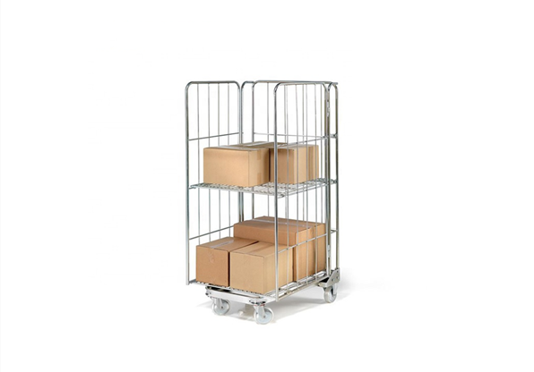 Medium duty storage folding metal galvanised cargo steel grid wire transport trolley