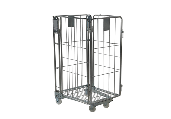 Collapsible 4 sided logistics pallet laundry metal container storage cage roll trolley