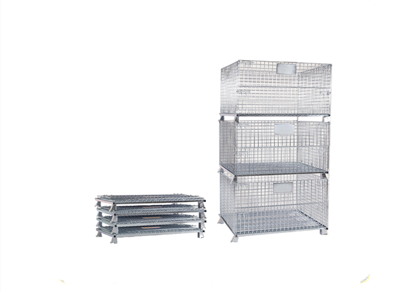 Heavy Duty Folding Lockable Steel Wire Mesh Container Metal Storage Pallet Cage For Sale