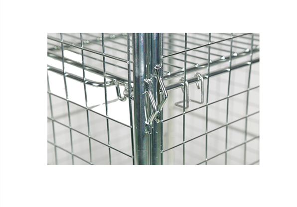 Supermarket 4 Sided Roll Cage Foldable Collapsible Security Nesting Metal Steel Wire Mesh Cargo Storage Roll Container