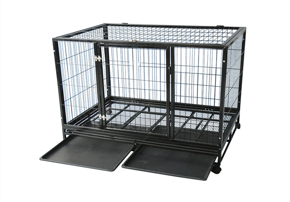 Luxurious Metal Square Tube Dog Cage With Wheels