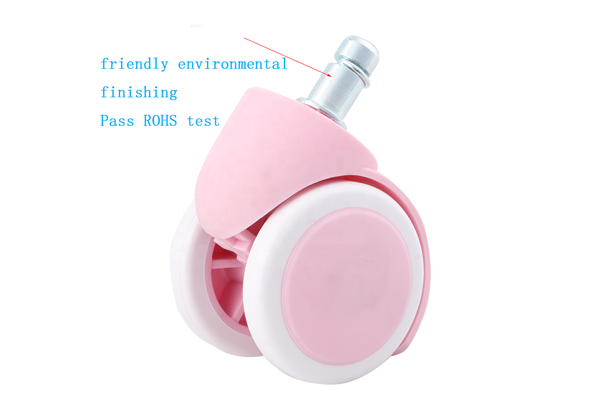 Pink Nylon Polyurethane Office Chair Caster