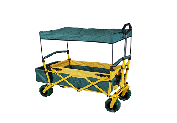 Folding Rolling Outdoor Canopy Wagon Large Space Hand Cart
